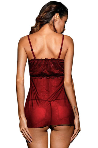 Burgundy Heart Cut out Bust Babydoll with G-string