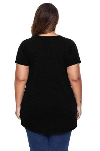 Black Slogan Print Plus Size T-Shirt with Ripped Shoulders