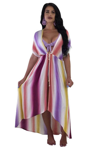 Colorful Striped Maxi Dress Coverup
