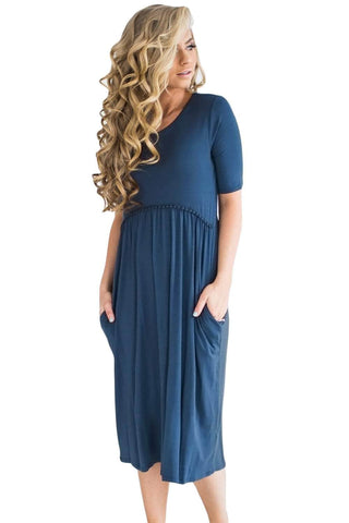 Blue Half Sleeve Jersey Knit Midi Dress