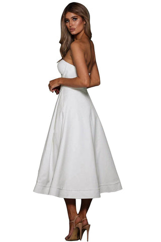 White Sexy Cupped Strapless Midi Dress