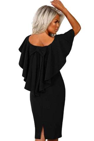 Black Bow Poncho Overlay Bardot Midi Dress