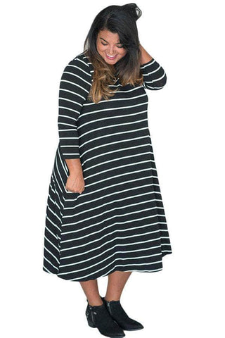 Black White 3/4 Sleeves Stripes Loose Fit Plus Dress