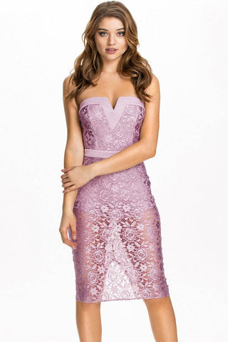 Pinkish Purple Rose Lace Strapless Midi Dress