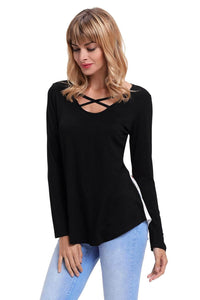 Black Crisscross Neck Floral Back Long Sleeve Top