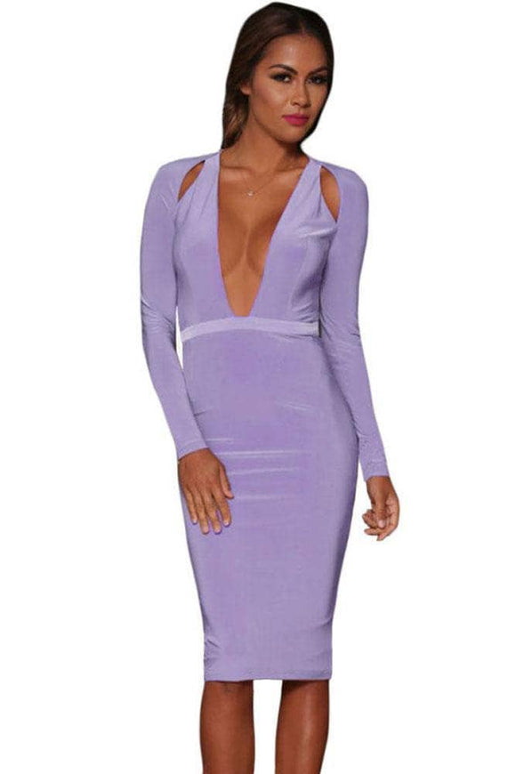 Shoulder Cutout Long-Sleeve Jersey Dress