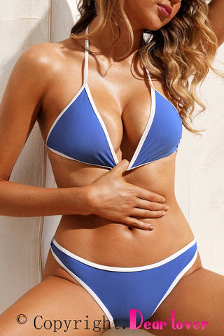 Royal Blue Triangular Halter Bikini 2pcs Swimsuit