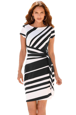 Black White Stripe Knot Sheath Dress