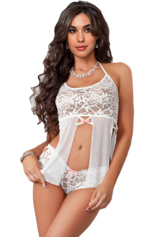 White 2pc Halter Lace Top with Panty Shorts