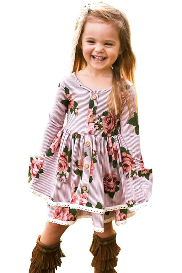 Red Sweet Striped Floral Kids Dress
