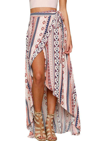 Ethnic Print Maxi Skirt Wrapped Beach Dress