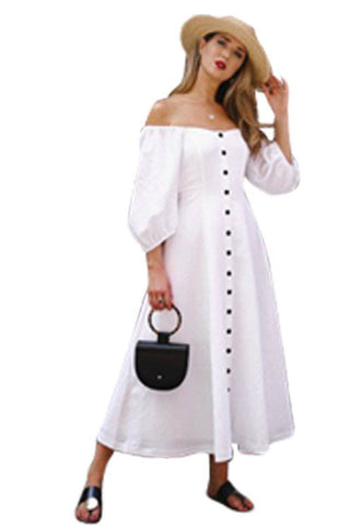 White Off Shoulder Puff Sleeve Button Front Vintage Dress