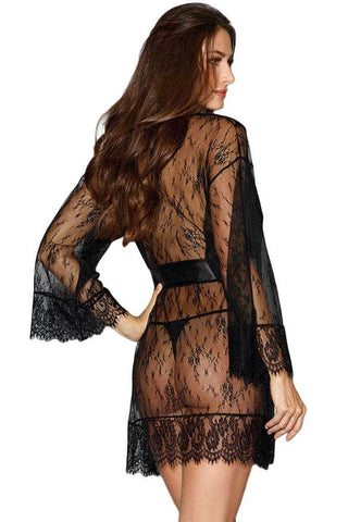 Black Long-sleeved Lace Kimono Robe with Belt