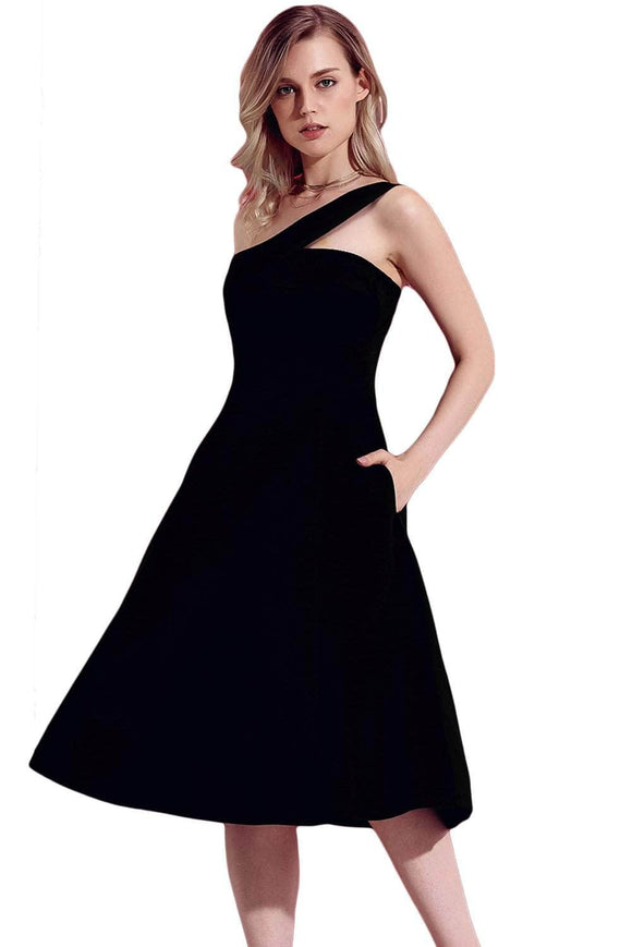 Black Asymmetric One Shoulder Flared Midi Dress