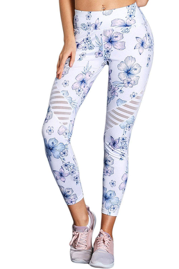 White Cutout Insert Floral Yoga Leggings