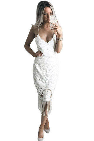 White Fashion Tassel Backless Lace Dress