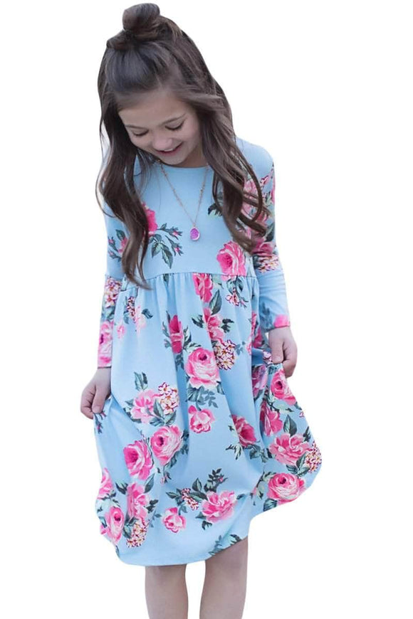 Floral Light Blue Swing Dress with Hidden Pockets
