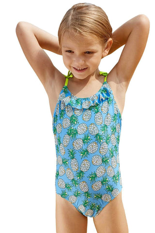 Pineapple Print Little Girls One-piece Swimsuit