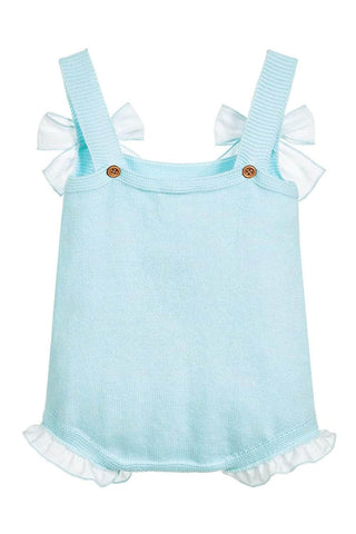 Baby Blue Bowknot Baby Girl Knit Cotton Romper