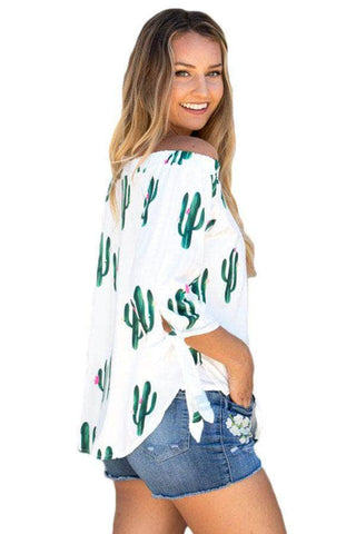 Cactus Print Elastic Off Shoulder Top