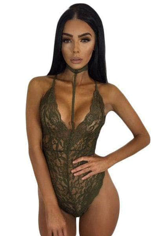 Army Green Sheer Lace Choker Neck Teddy Lingerie