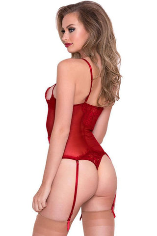 Red Eyelash Lace Teddy with Garters