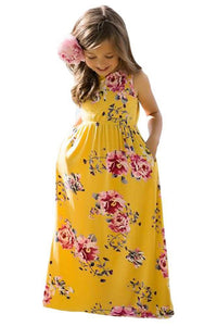 Yellow Floral Print Sleeveless Little Girl Maxi Dress