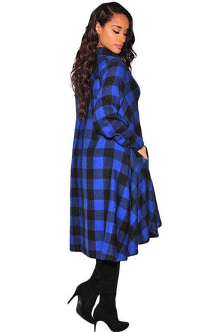 Blue Black Plaid Flared High Low Blouse Dress