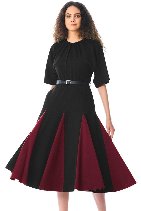 Black Burgundy Godet Colorblock A-line Midi Dress