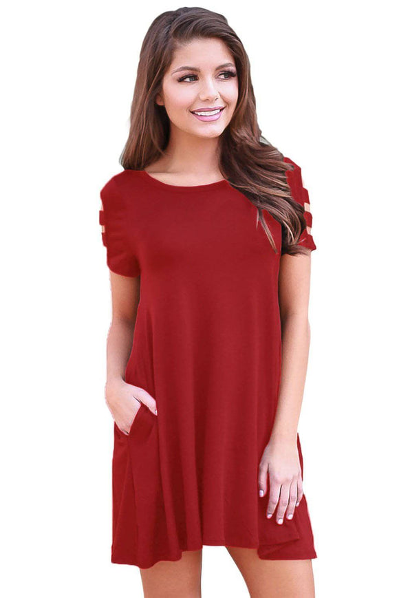 Wine Red Banded Short Sleeve Relaxing Casual Dress