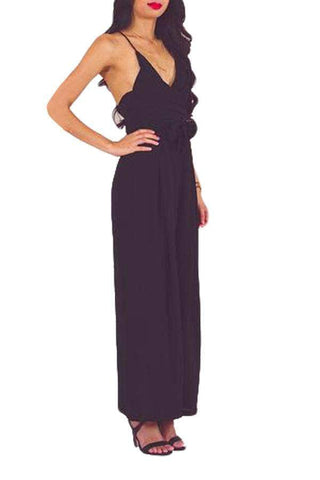 Black Wrap and Tie Sexy Open Back Jumpsuit