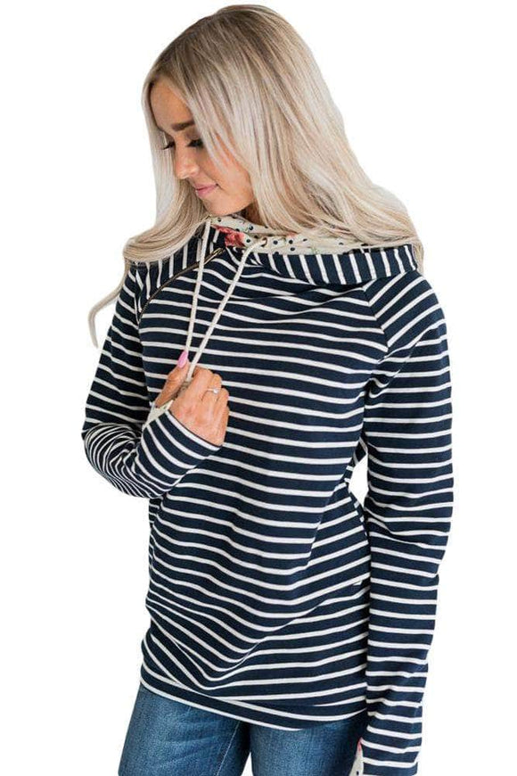 Floral&Dot Double Hooded Navy Striped Sweatshirt