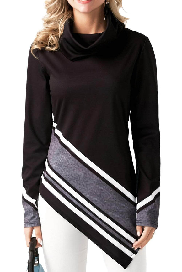 Black Asymmetric Hemline Printed Cowl Neck Top