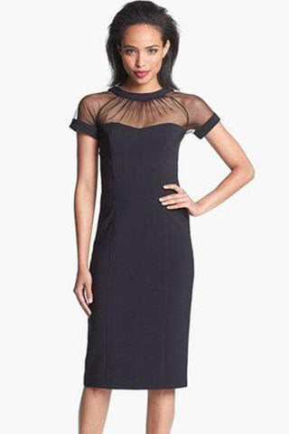 Black Illusion Yoke Crepe Sheath Midi Dress