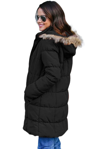Black Fur Trim Hooded Long Quilted Coat