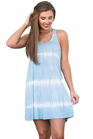 Light Blue Dye Print Racerback Swing Dress
