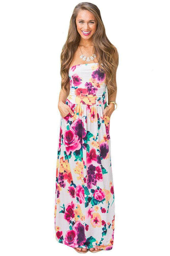Beautiful Floral Print Strapless Maxi Boho Dress