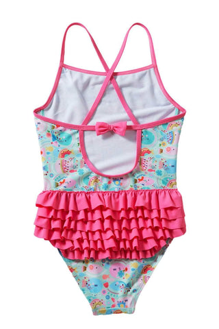 Girls' Cartoon Fish World Ruffle Back Teddy Swimsuit