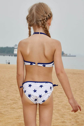 Halter Neck Blue Stars Print White Kid Girls Bikini Swimwear
