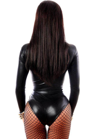 Black Wet Look Long Sleeve Bodysuit