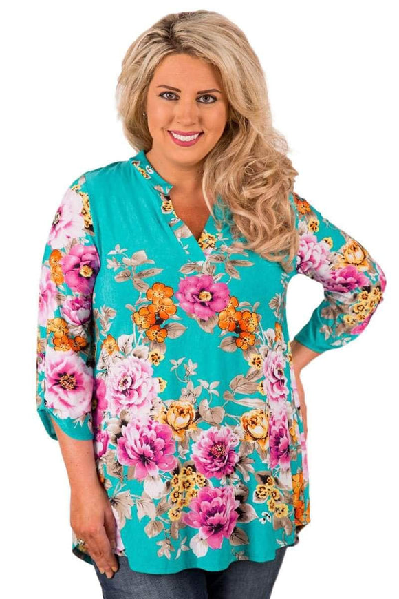 Green Floral Retro Print Quarter Sleeve Blouse