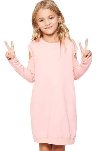 Pink Cold Shoulder Girl's Sweatshirt Dress