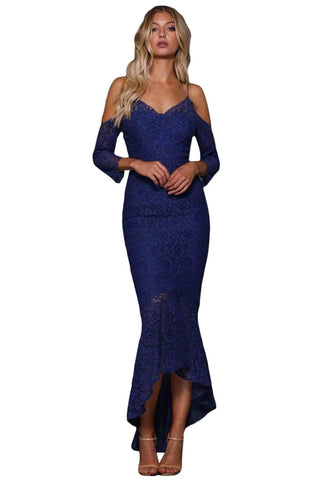 Navy Blue Lace Cold Shoulder Elegant Mermaid Party Dress