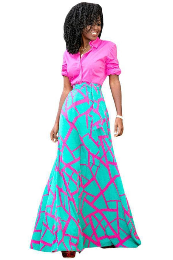 Pink Mint Scattered Crack Flowy Maxi Skirt