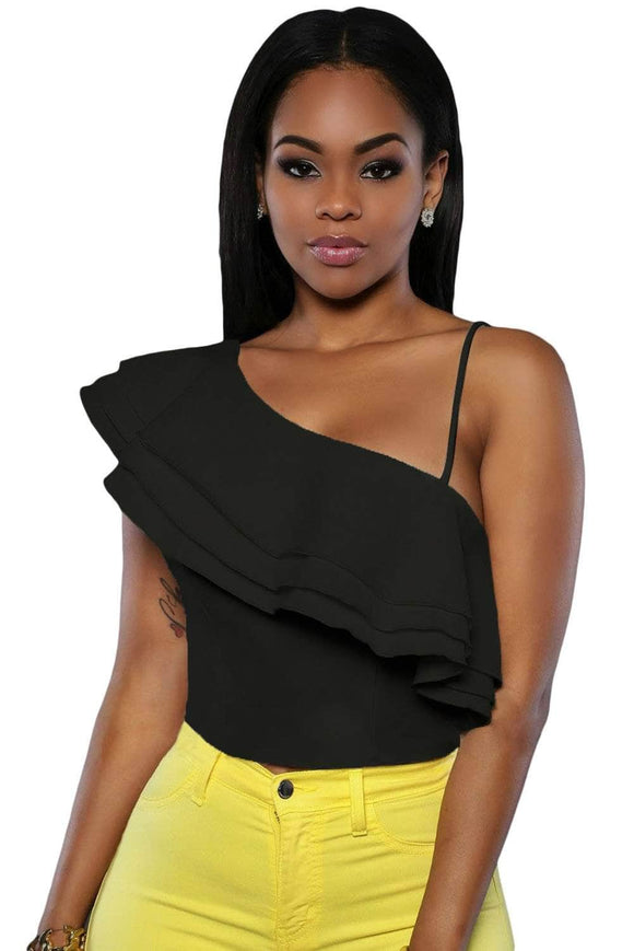 Black Ruffle Luxe Crop Top