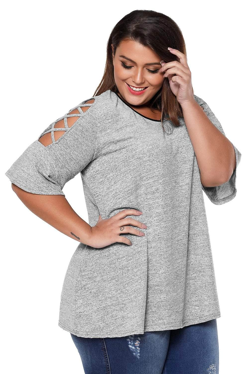 88d7fad3f7de6 Grey Plus Size Lace Up Cold Shoulder Top with Flute Sleeves by ...