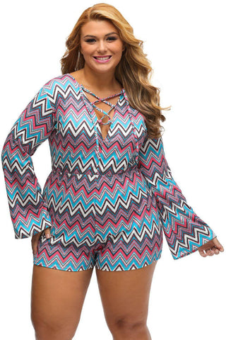 Plus Bright Zigzag Print Deep V Lace-up Long Sleeve Playsuit by Victory Roze
