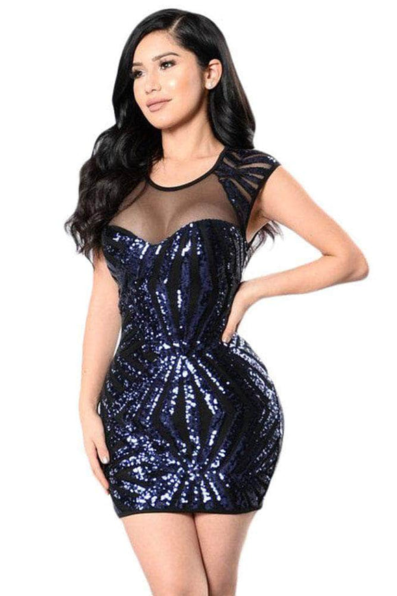 7fc68110f66 Navy Sequin Mesh Cutout Sexy Club Dress