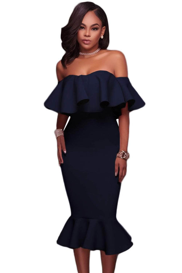 Blue Ruffle Off Shoulder Mermaid Midi Party Dress