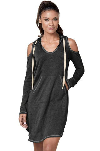 Black Long Sleeve Cold Shoulder Hooded Dress